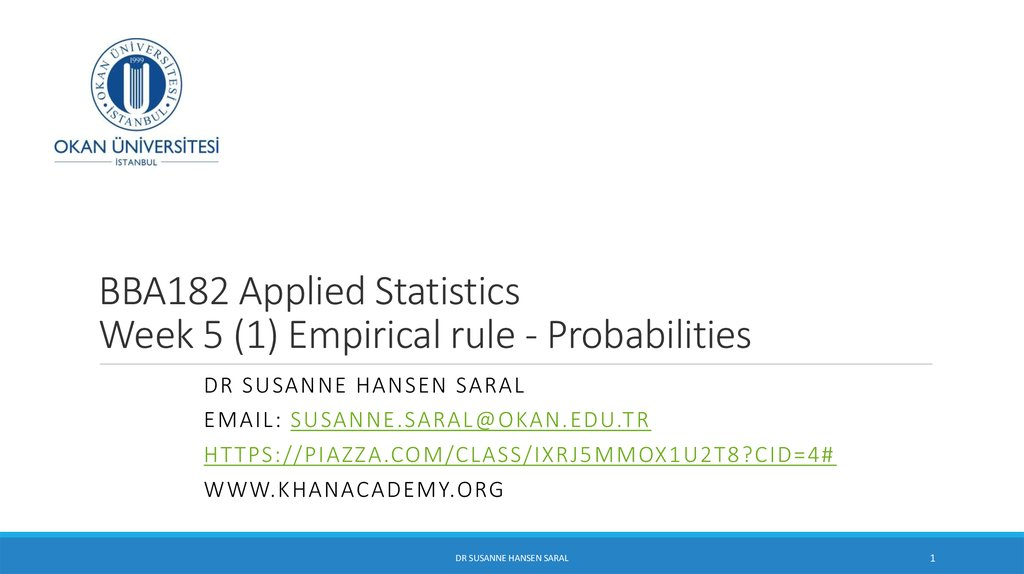 BBA182 Applied Statistics Week 5 (1) Empirical rule - Probabilities