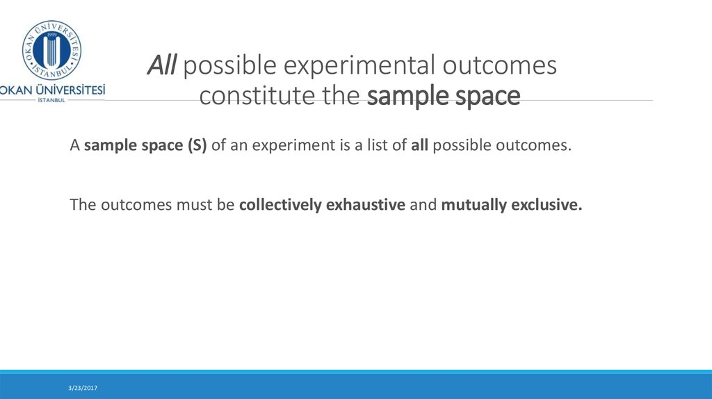 All possible experimental outcomes constitute the sample space
