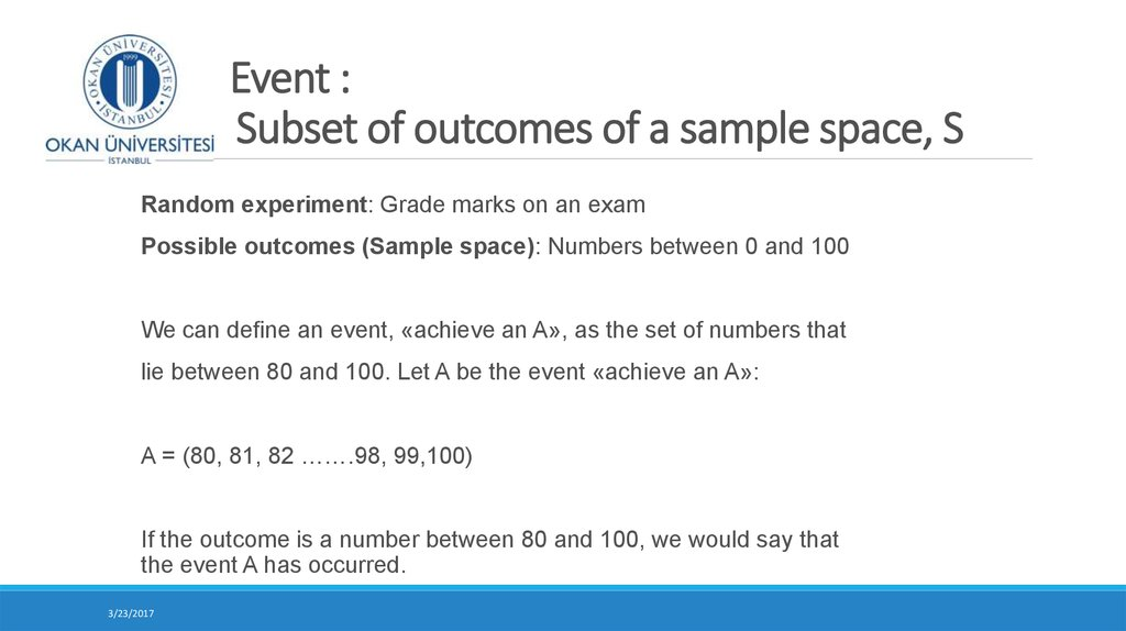 Event : Subset of outcomes of a sample space, S