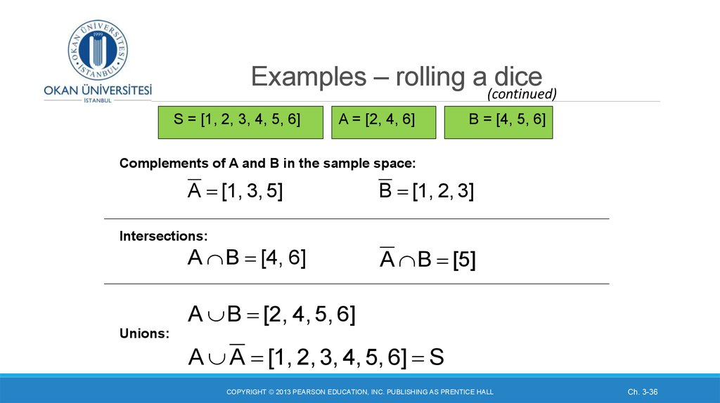 Examples – rolling a dice