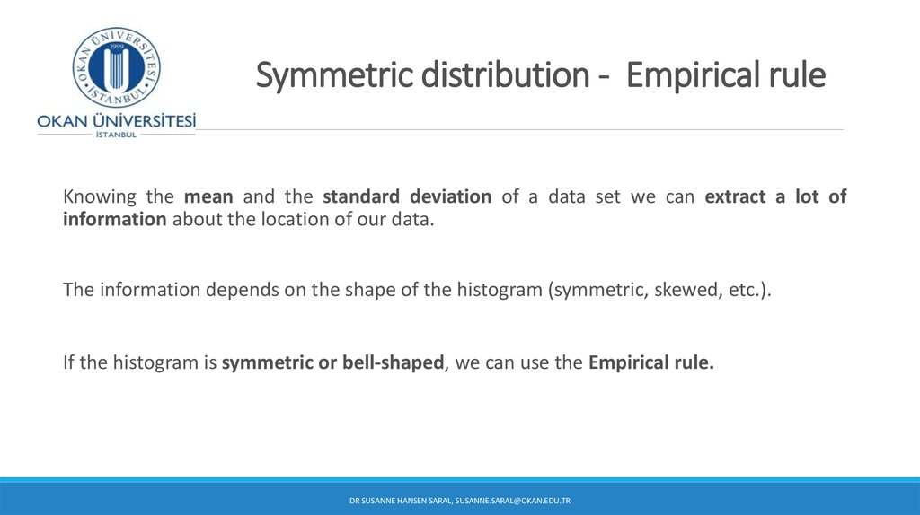 Symmetric distribution - Empirical rule