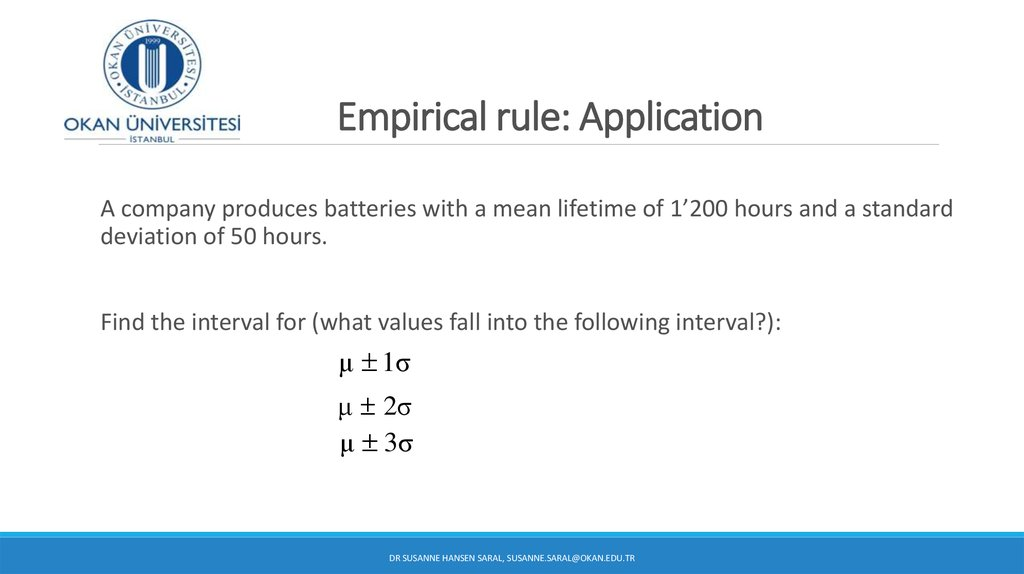 Empirical rule: Application