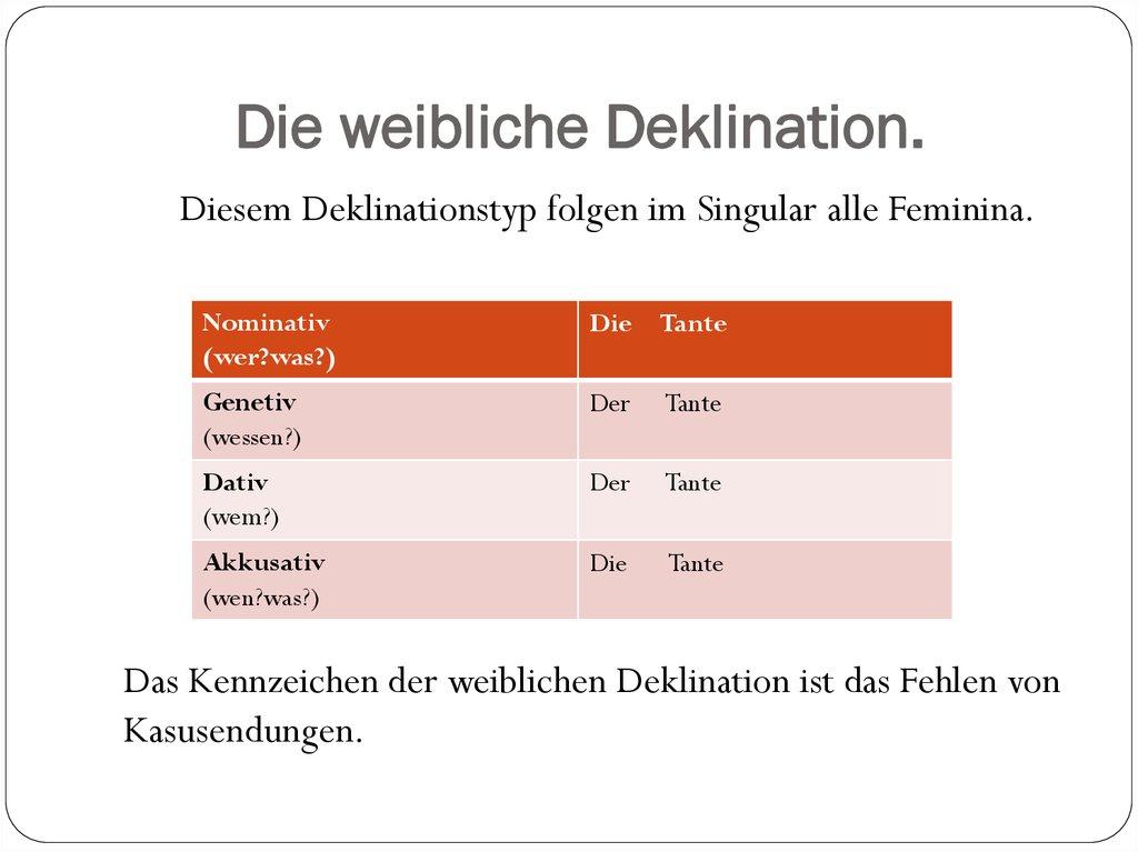 Die Deklination Der Substantive склонение имен существительных