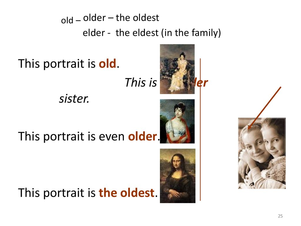 old – older – the oldest elder - the eldest (in the family)