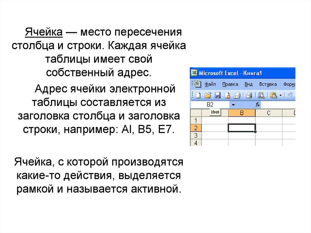 ячейка электронной таблицы обозначается адресом