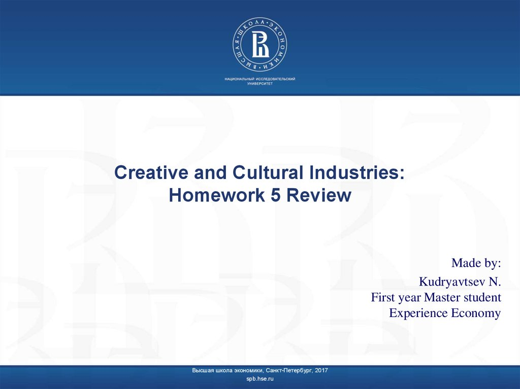 Creative and Cultural Industries: Homework 5 Review