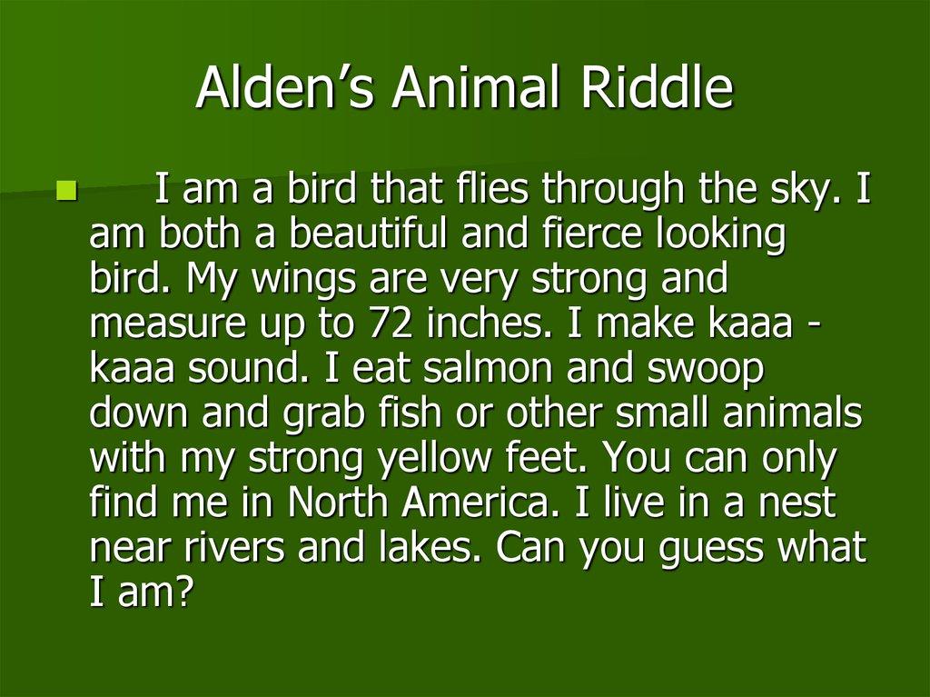 Animal Riddles Abigail S Animal Riddle Online Presentation