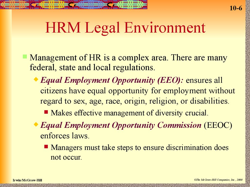 "hrm7000 8 work environment and legal Legal compliance efficient hr processes effective hrm programs alignment with strategic goals of the organization 1for consistency's sake, this report uses the term ""agency"" when referring to the broadest form of the federal organization for instance, the department of agriculture, along with all its components, is an ""agency."