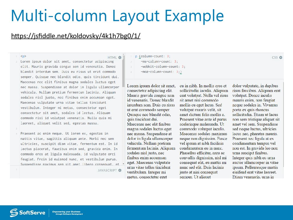 Multi-column Layout Example
