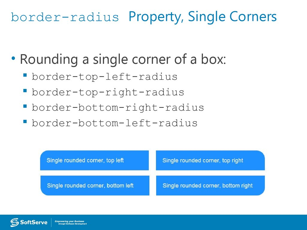 border-radius Property, Single Corners