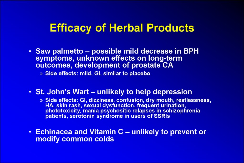 Efficacy of Herbal Products