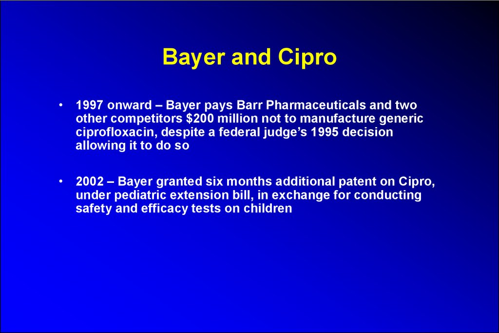 Bayer and Cipro