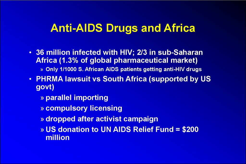 Anti-AIDS Drugs and Africa