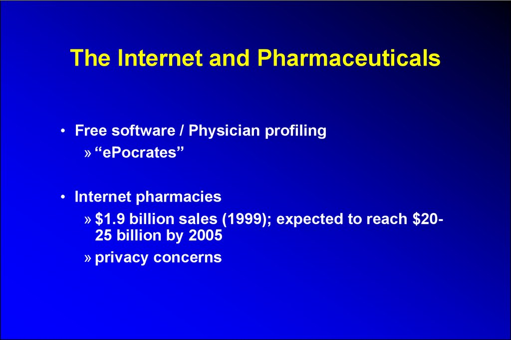 The Internet and Pharmaceuticals