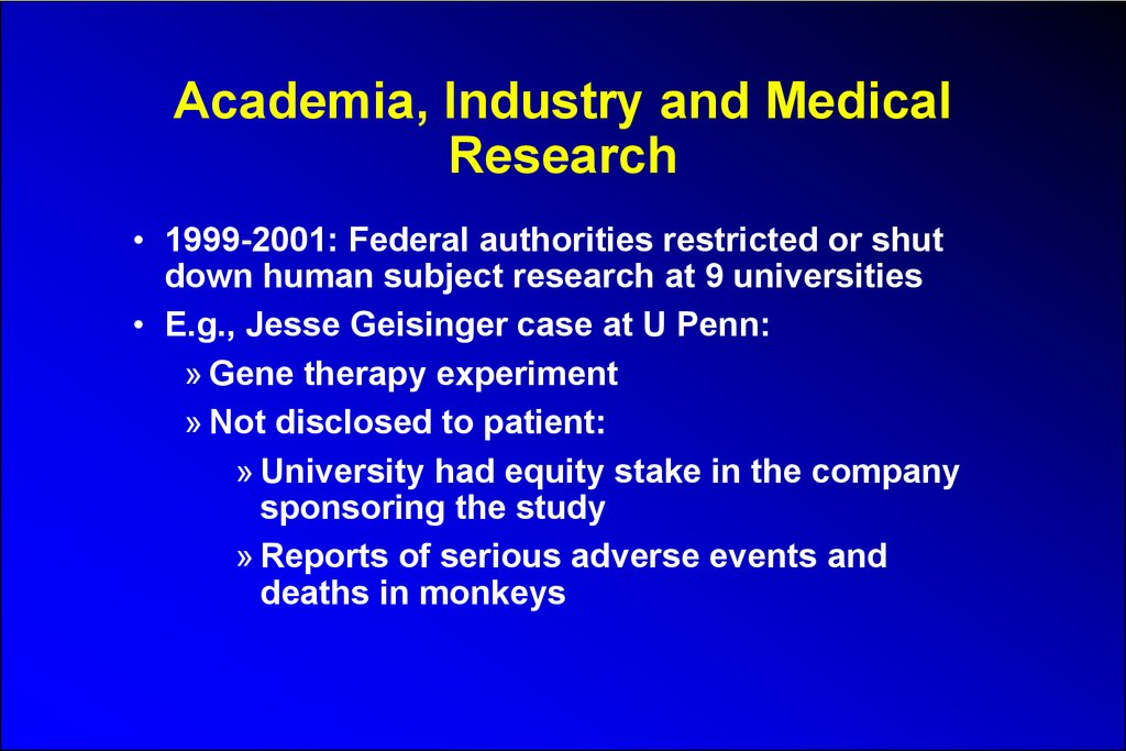 Academia, Industry and Medical Research