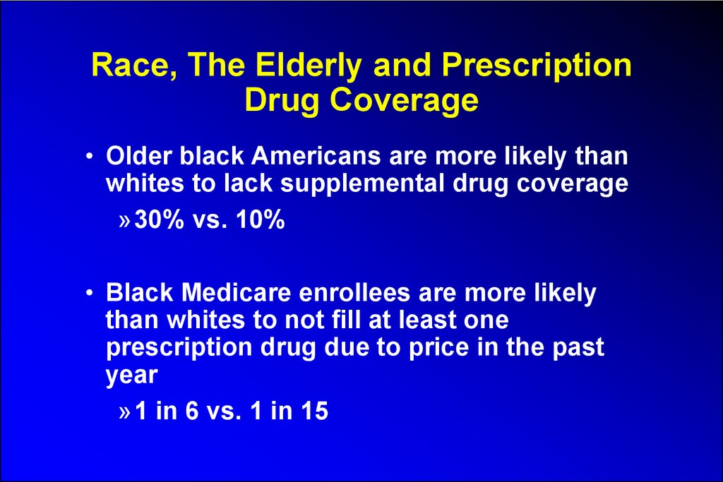 Race, The Elderly and Prescription Drug Coverage