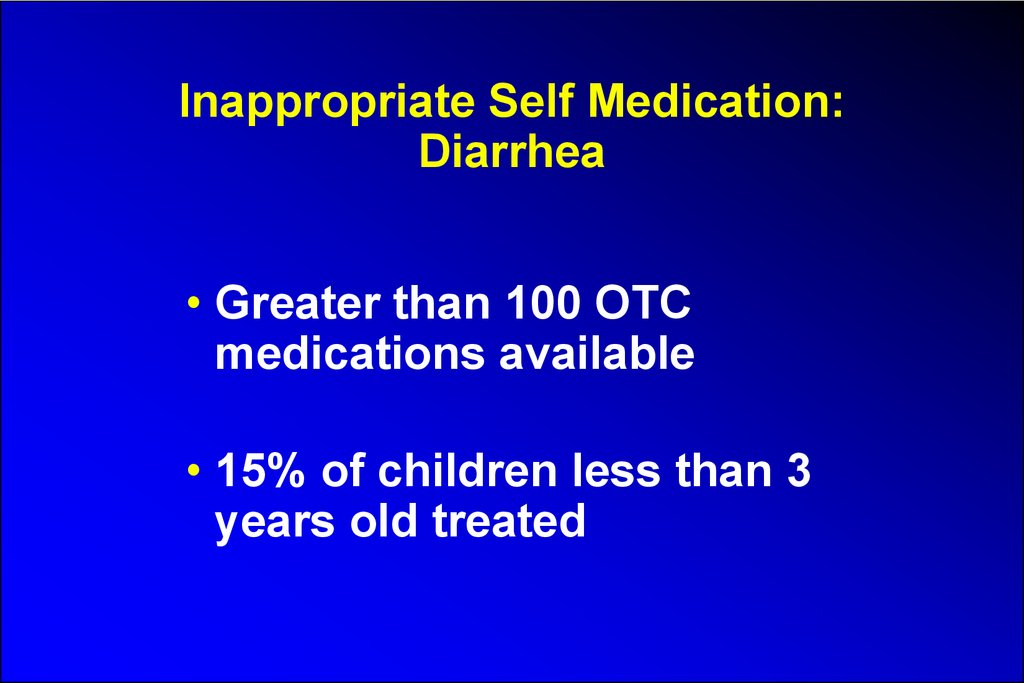 Inappropriate Self Medication: Diarrhea