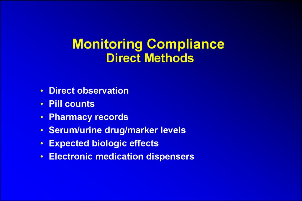 Monitoring Compliance Direct Methods