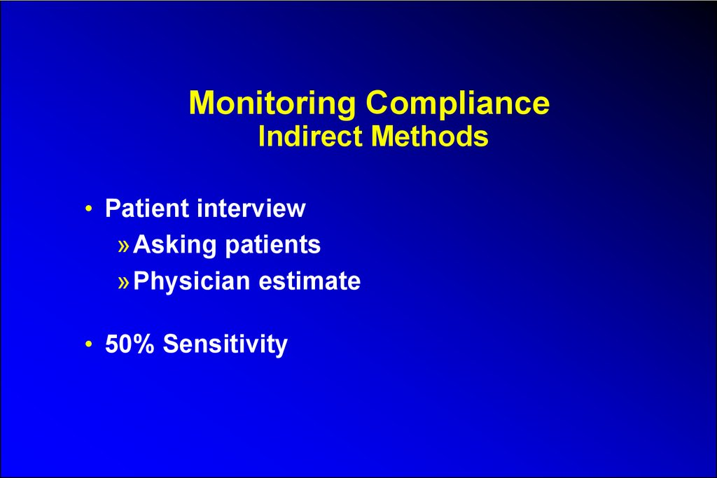 Monitoring Compliance Indirect Methods