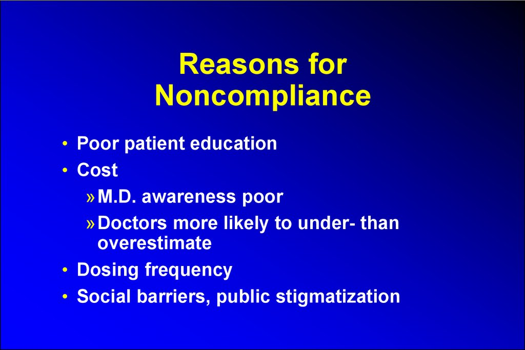 Reasons for Noncompliance