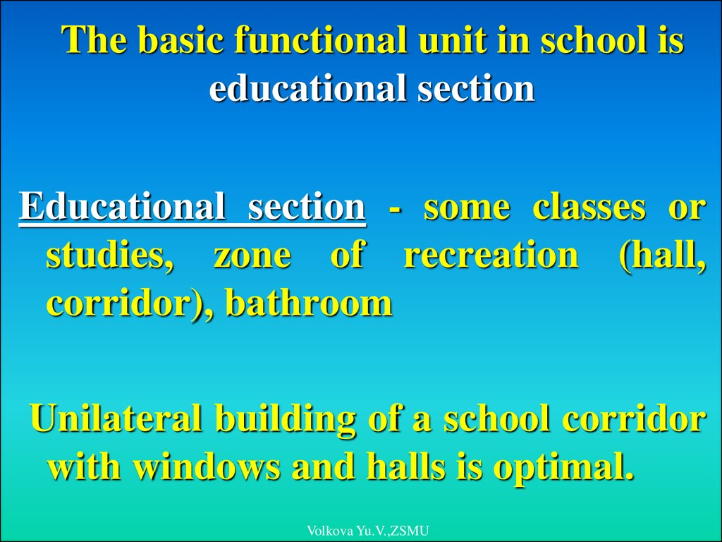 The basic functional unit in school is educational section