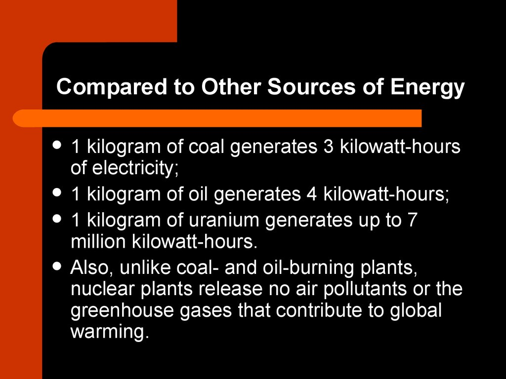 Compared to Other Sources of Energy