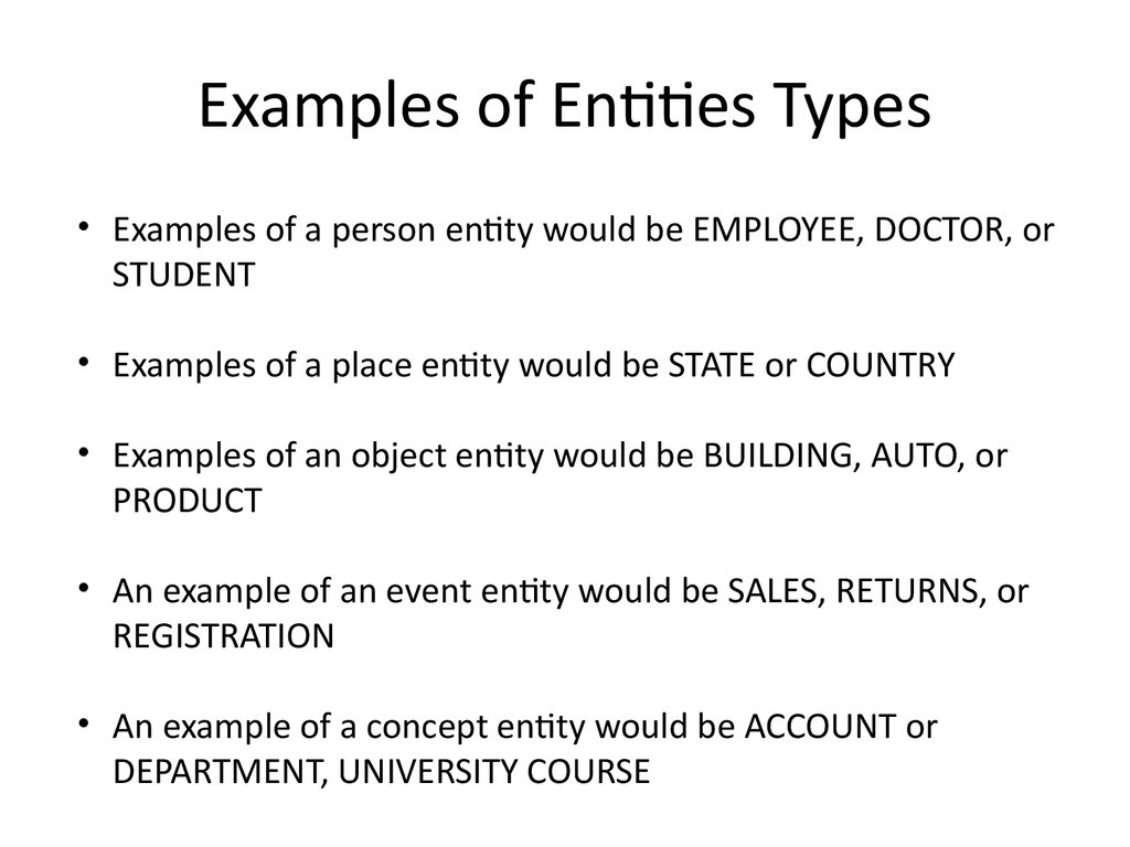 Examples of Entities Types