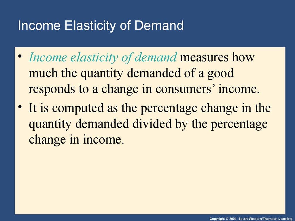 income elasticity of demand