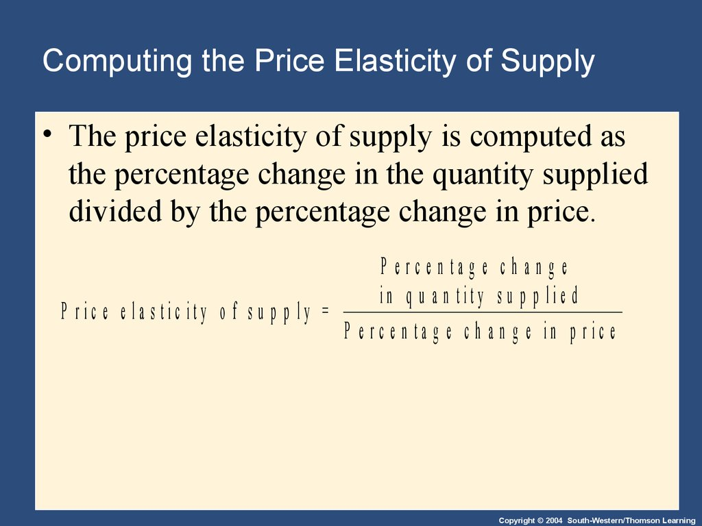 Computing the Price Elasticity of Supply