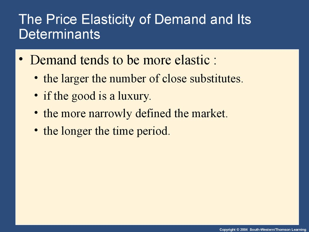 The Price Elasticity of Demand and Its Determinants
