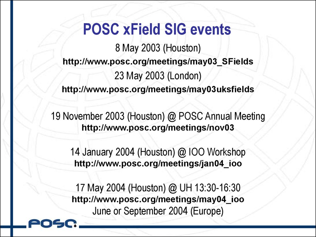 POSC xField SIG events