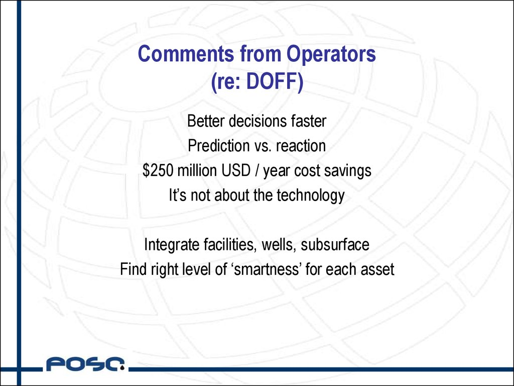 Comments from Operators (re: DOFF)