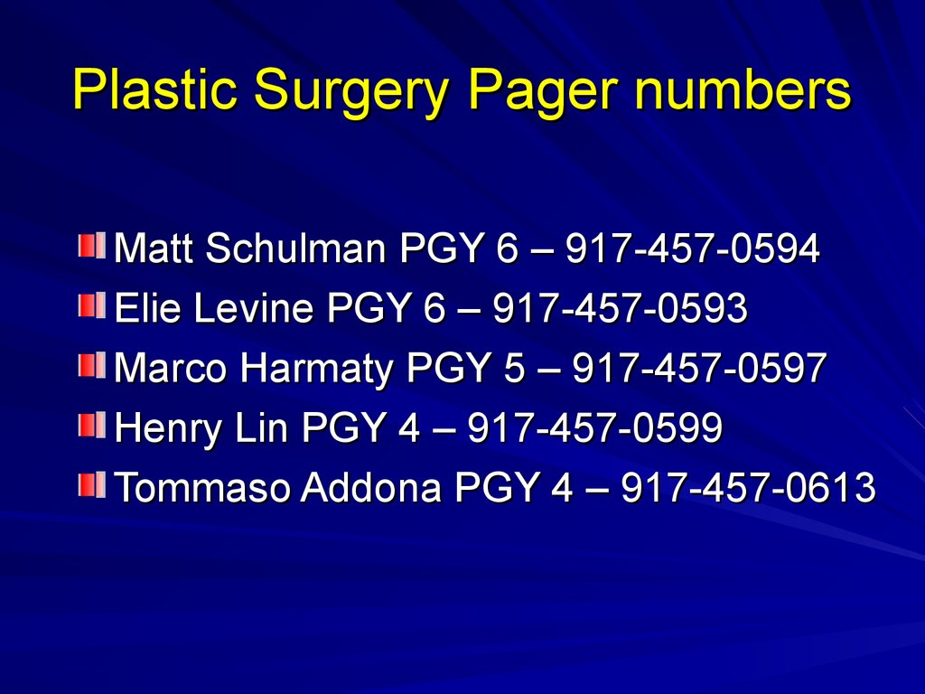 Plastic Surgery Pager numbers