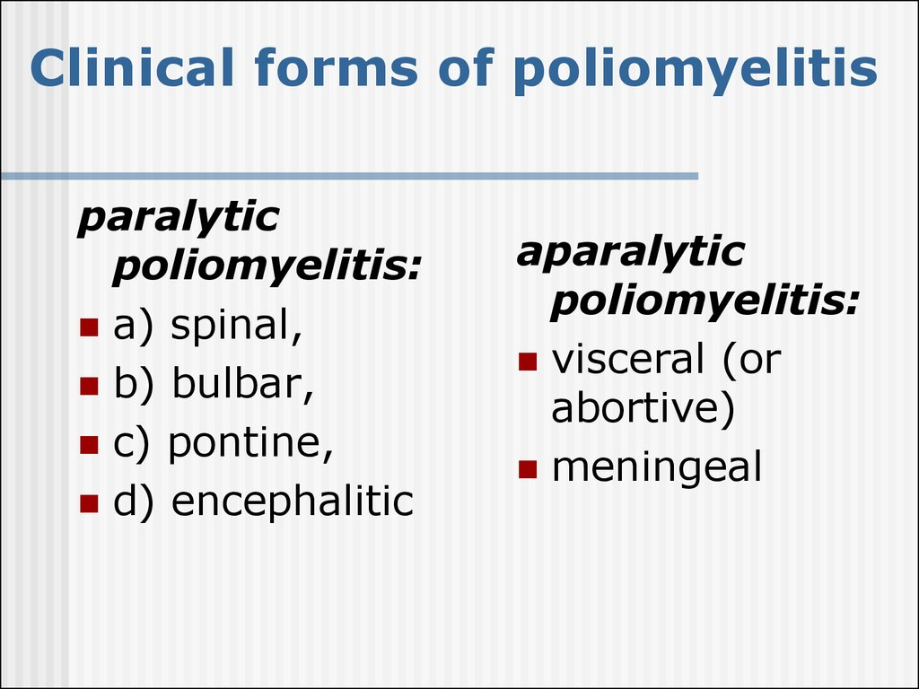 Clinical forms of poliomyelitis