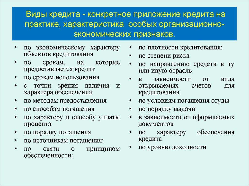 совокупность видов форм кредитов методов кредитования