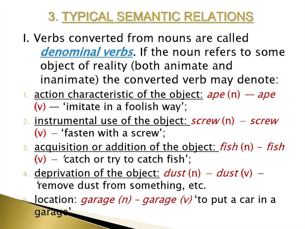 3. TYPICAL SEMANTIC RELATIONS