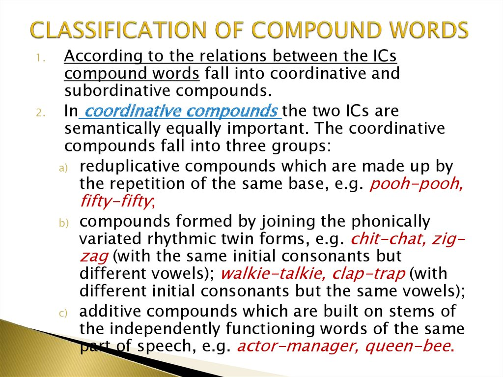 CLASSIFICATION OF COMPOUND WORDS