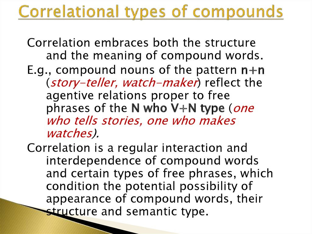 Correlational types of compounds