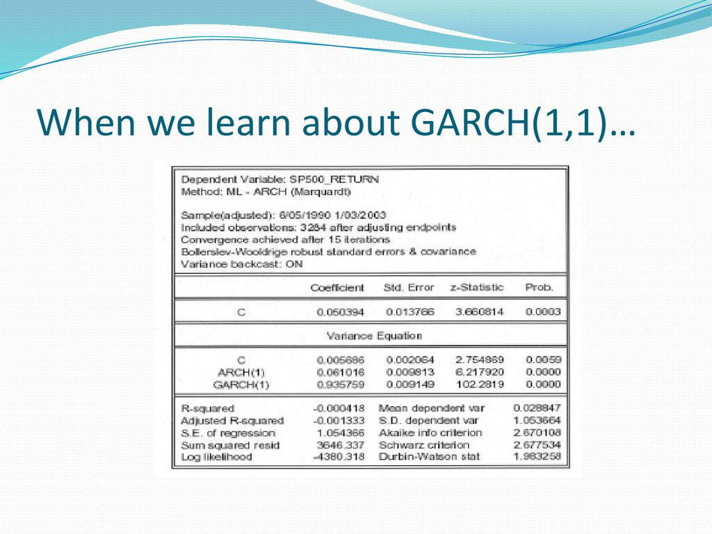 When we learn about GARCH(1,1)…