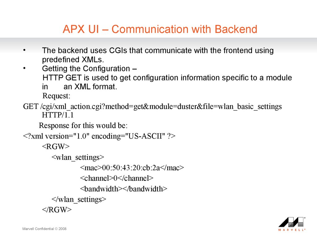 APX UI ?C Communication with Backend