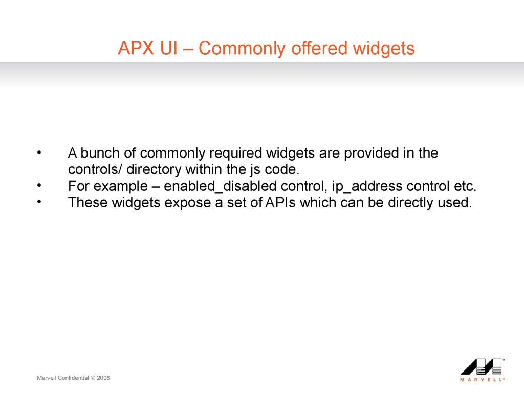 APX UI ?C Commonly offered widgets