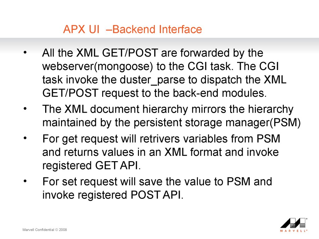 APX UI ?CBackend Interface
