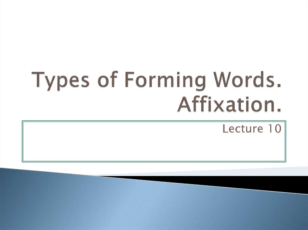 Types of Forming Words. Affixation.