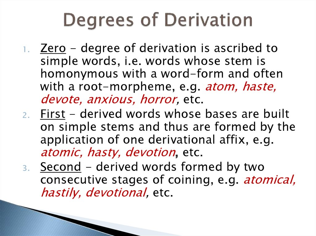 Degrees of Derivation