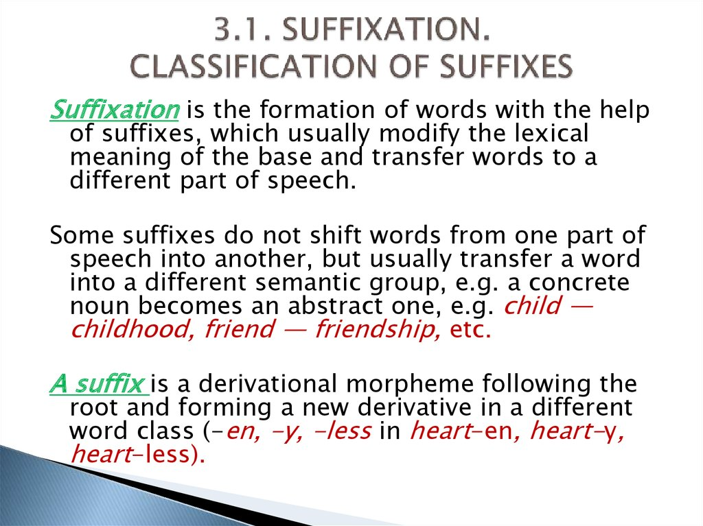 3.1. SUFFIXATION. CLASSIFICATION OF SUFFIXES