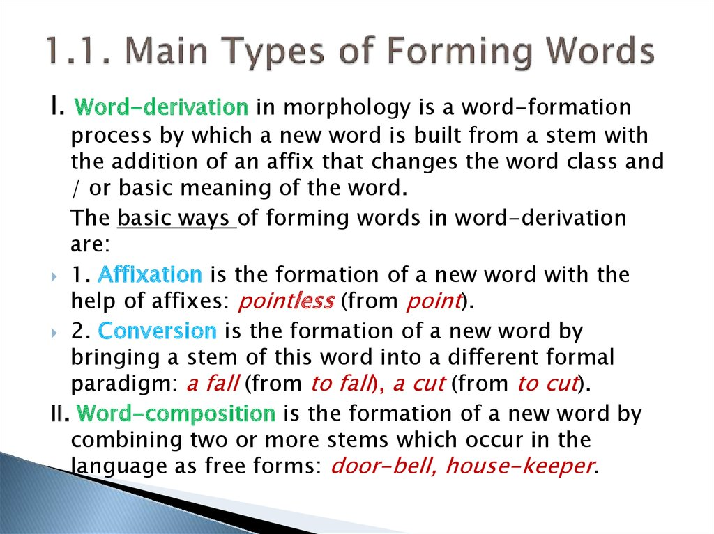 1.1. Main Types of Forming Words