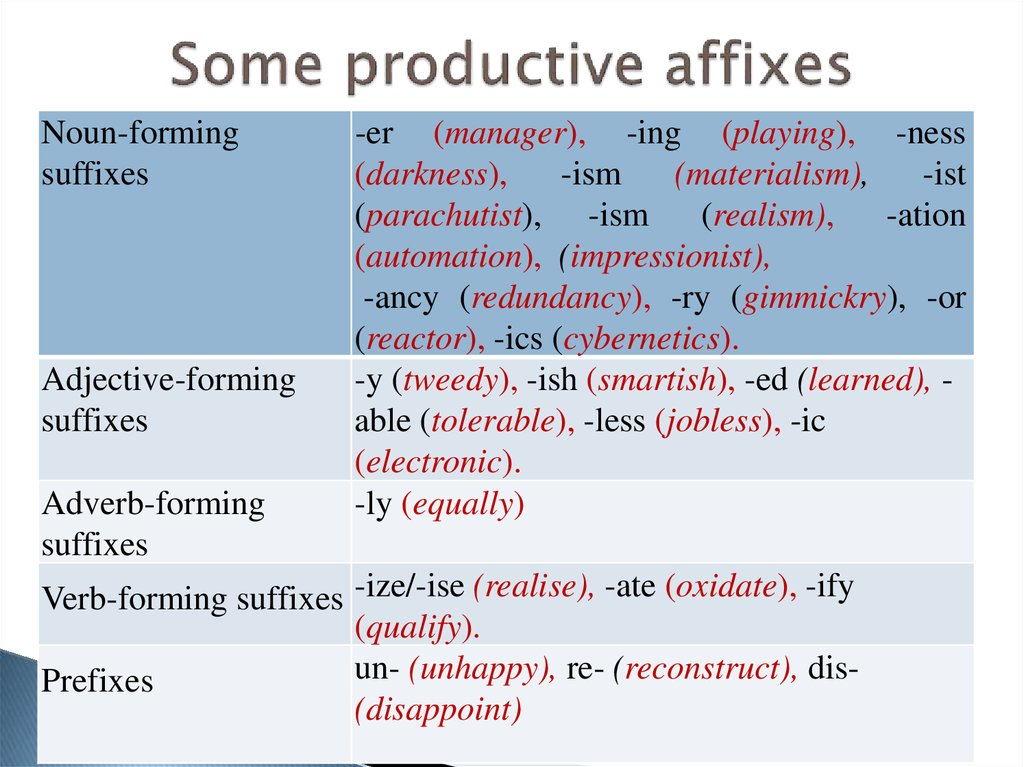 Some productive affixes