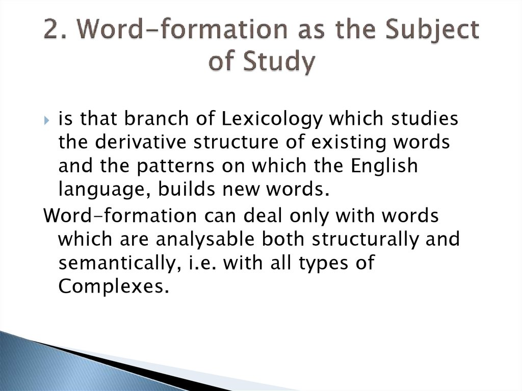 2. Word-formation as the Subject of Study