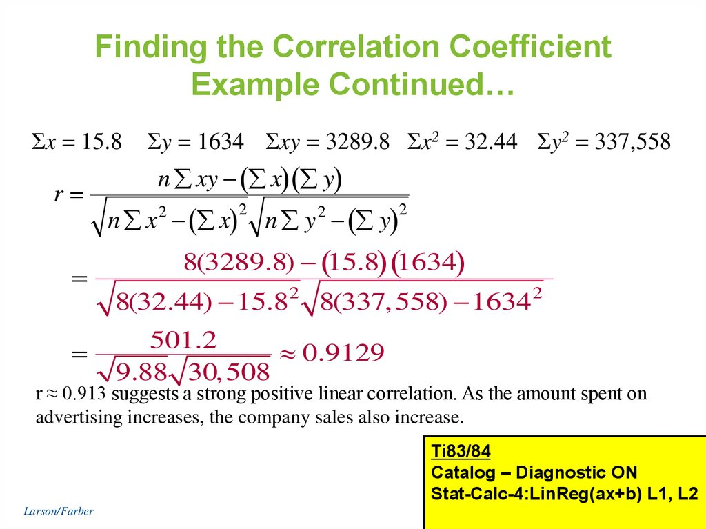 Finding the Correlation Coefficient Example Continued…