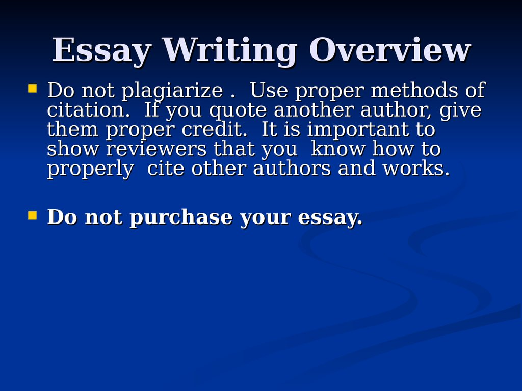 Essay Writing Overview